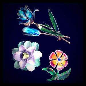 VINTAGE Bundle of ((3)) Enamel Flower Pin / Brooch